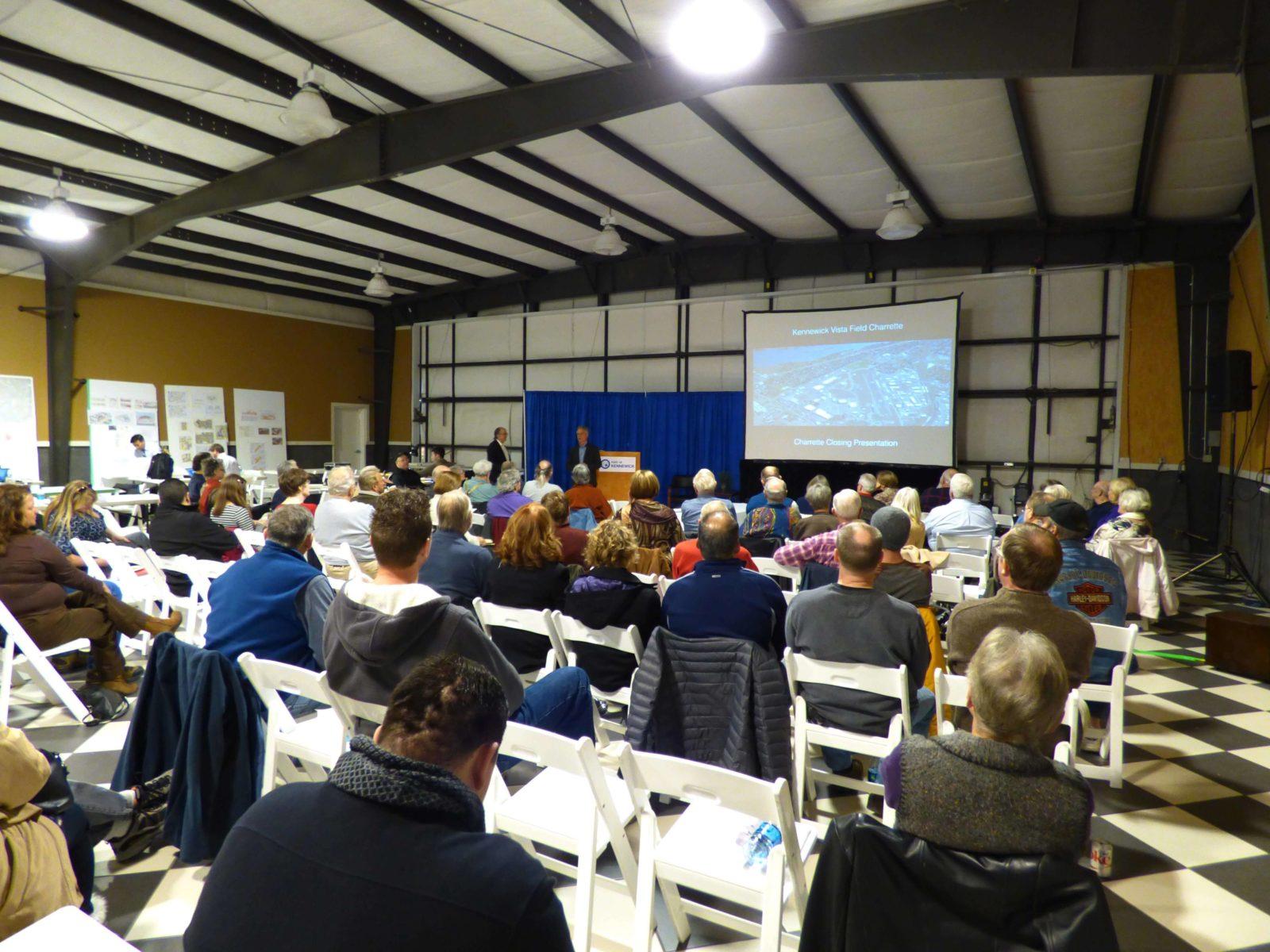 PowerPoint presentation to crowd at Vista Field Charrette.
