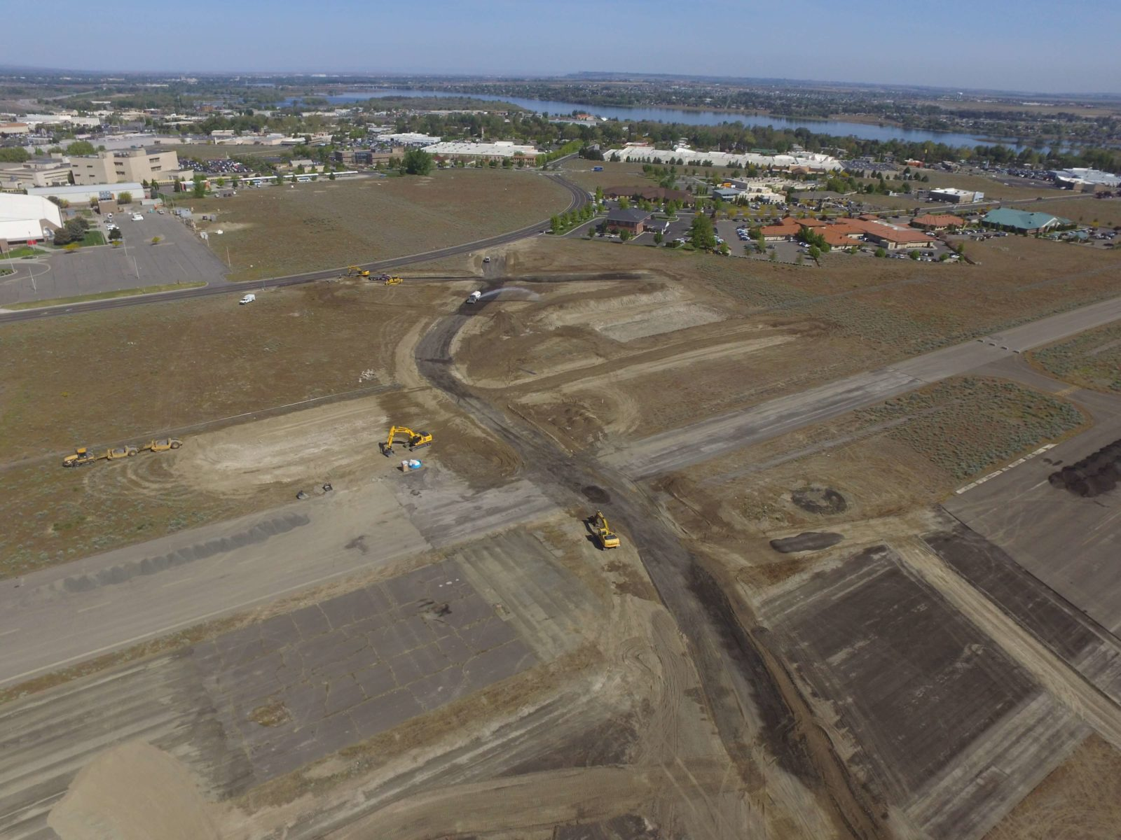 Aerial view of roads under construction at Vista Field.