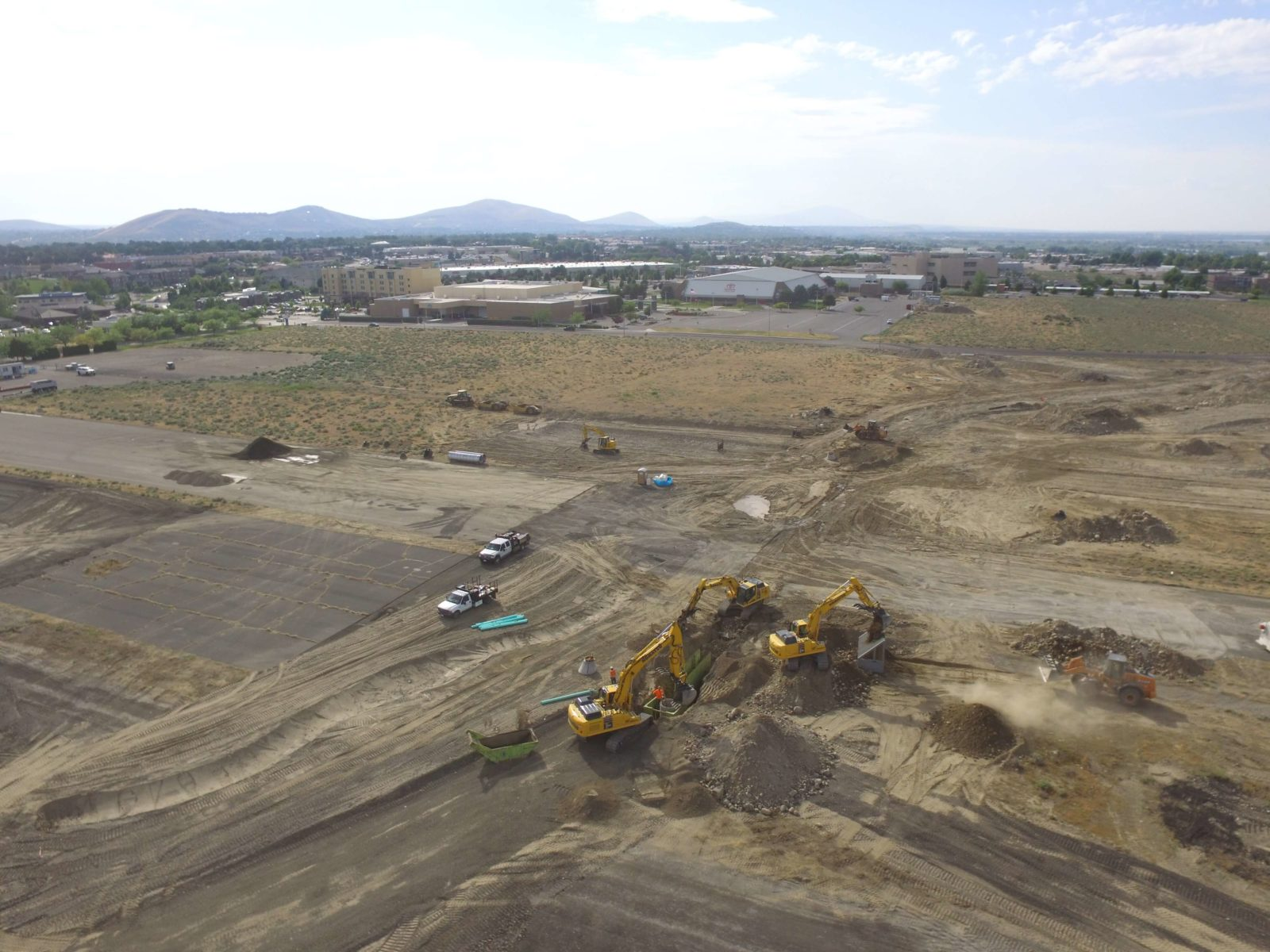 Aerial view of heavy equipment working at Vista Field.