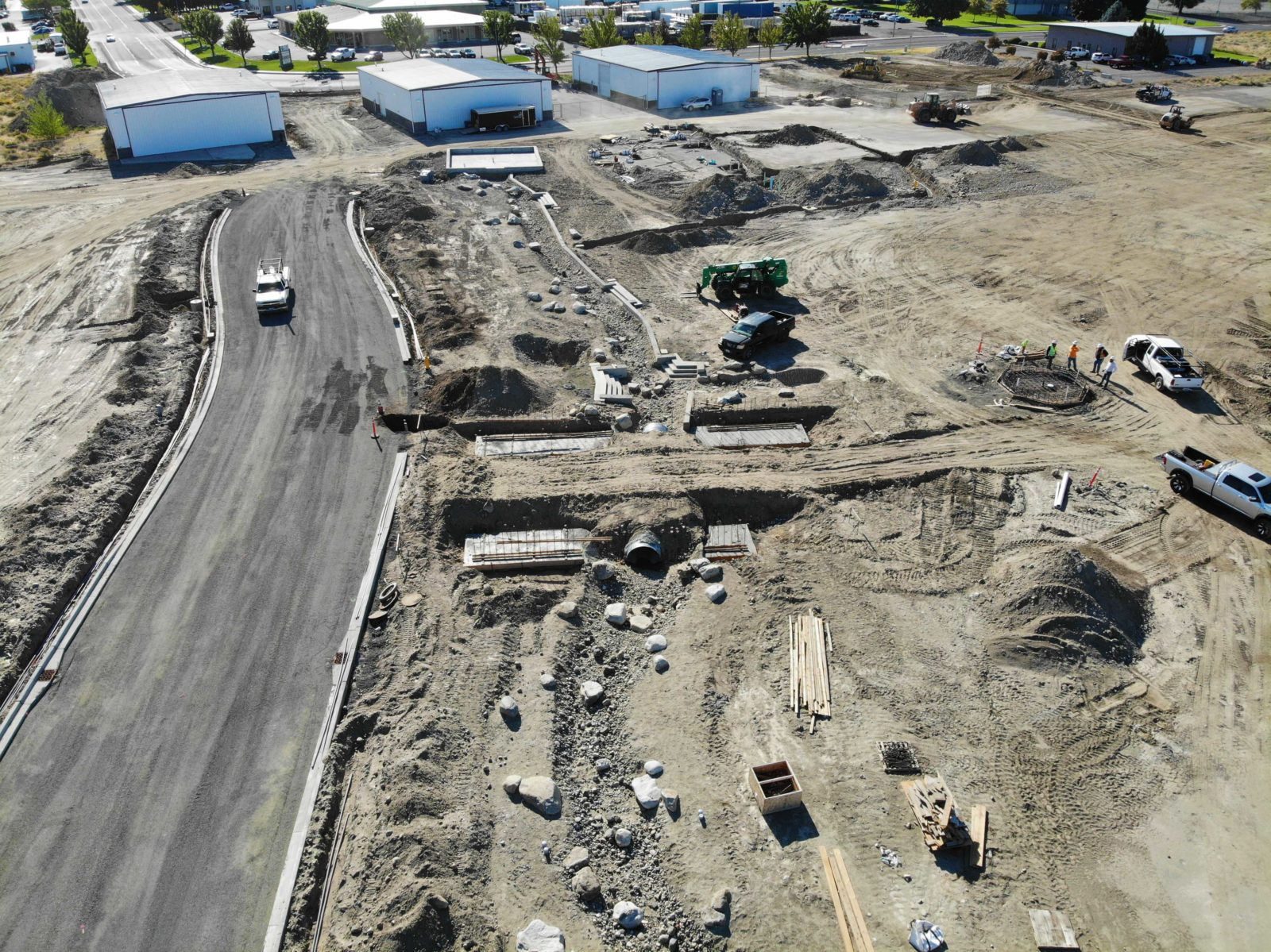 Aerial of new roadway construction at Vista Field.