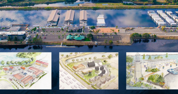 Artist's renderings showing options for development at Kennewick's Historic Waterfront Master Plan.