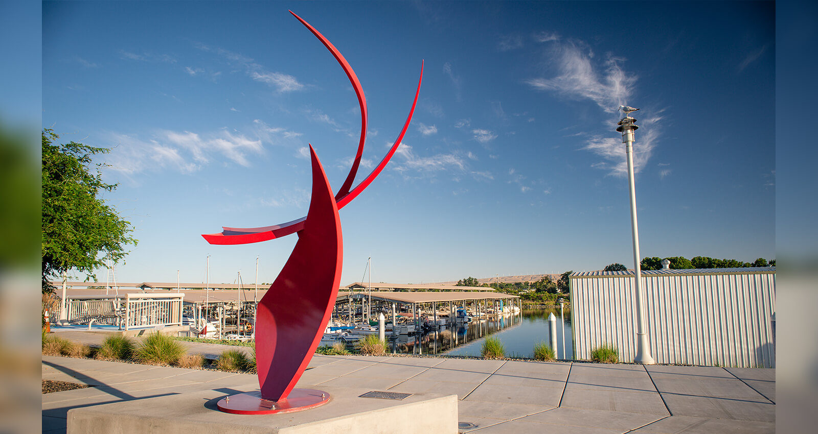 Catch the Wind artwork overlooking the Marina.