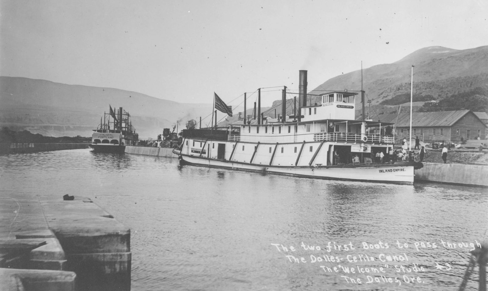 First two boats through the Dalles-Celilo Canal, 1915.