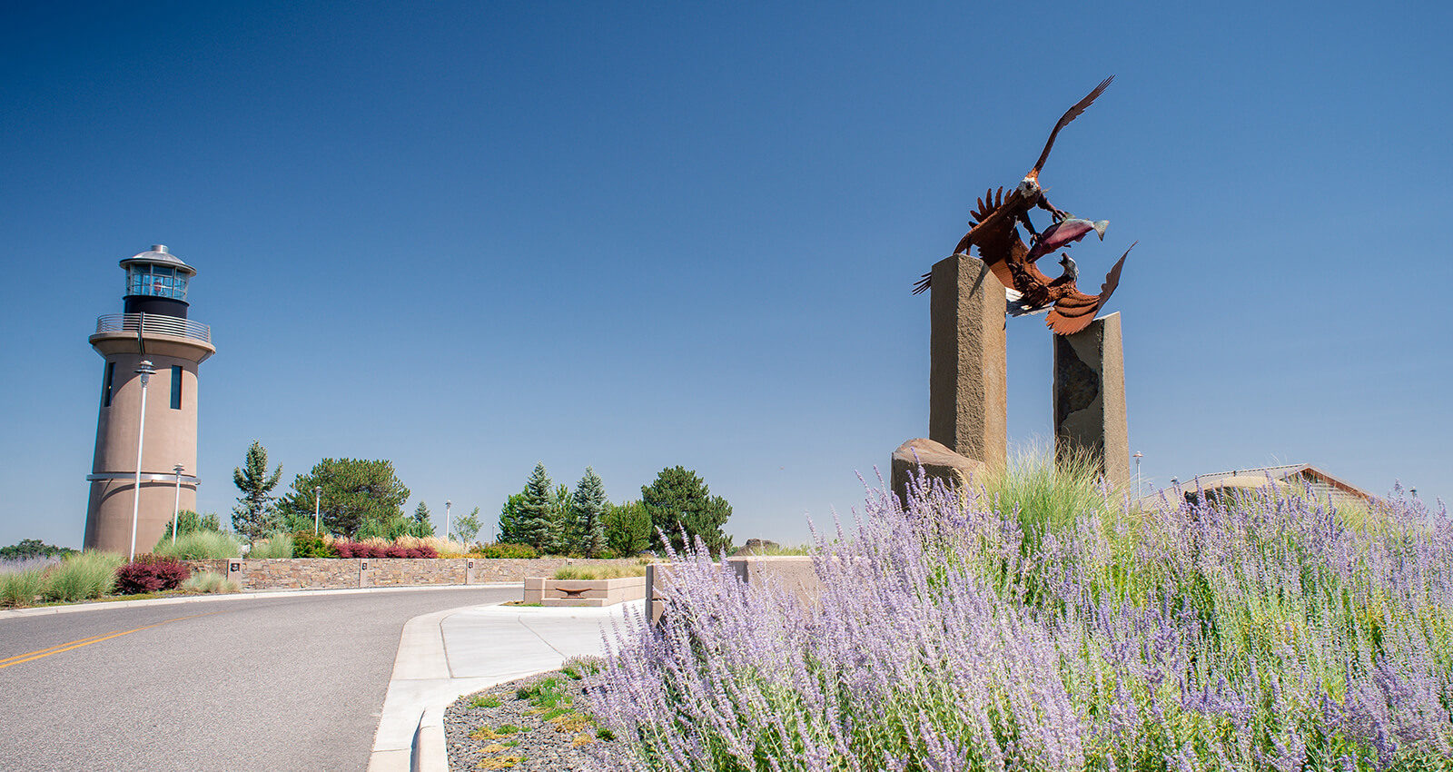 Fair Game art installation surrounded by lavender.