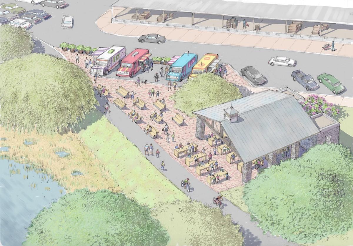Artist rendering of Food Truck Plaza at Columbia Gardens.