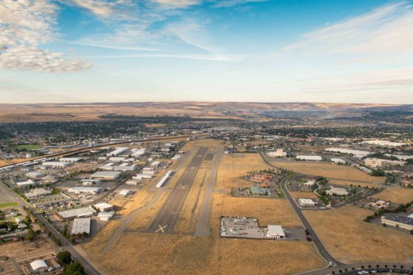 Aerial of Vista Field and surrounding businesses.