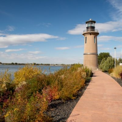 Public pathway and lighthouse along the Clover Island shoreline.