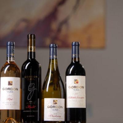 Gordon Estate Winery wines on display.