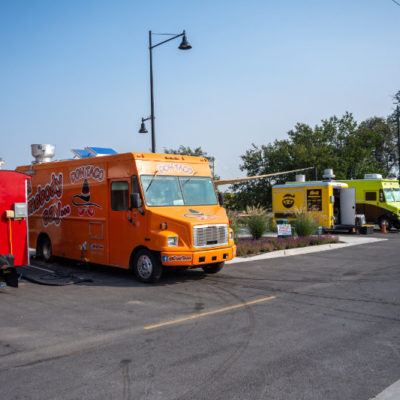 Food trucks line the plaza at Columbia Gardens.
