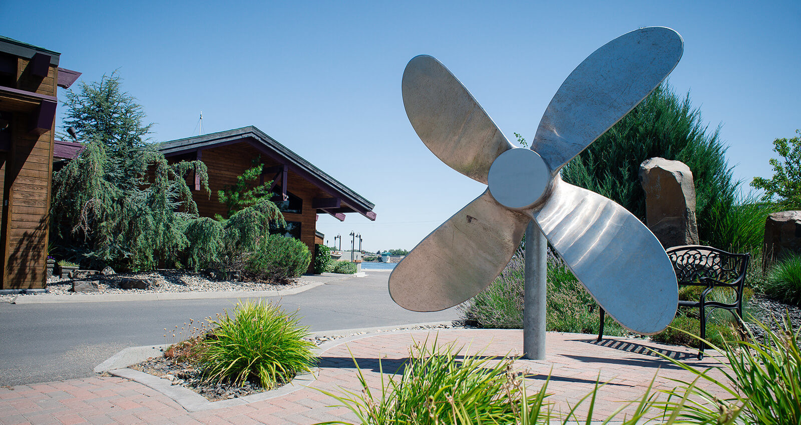 Sun relecting off of the Propeller art installation.