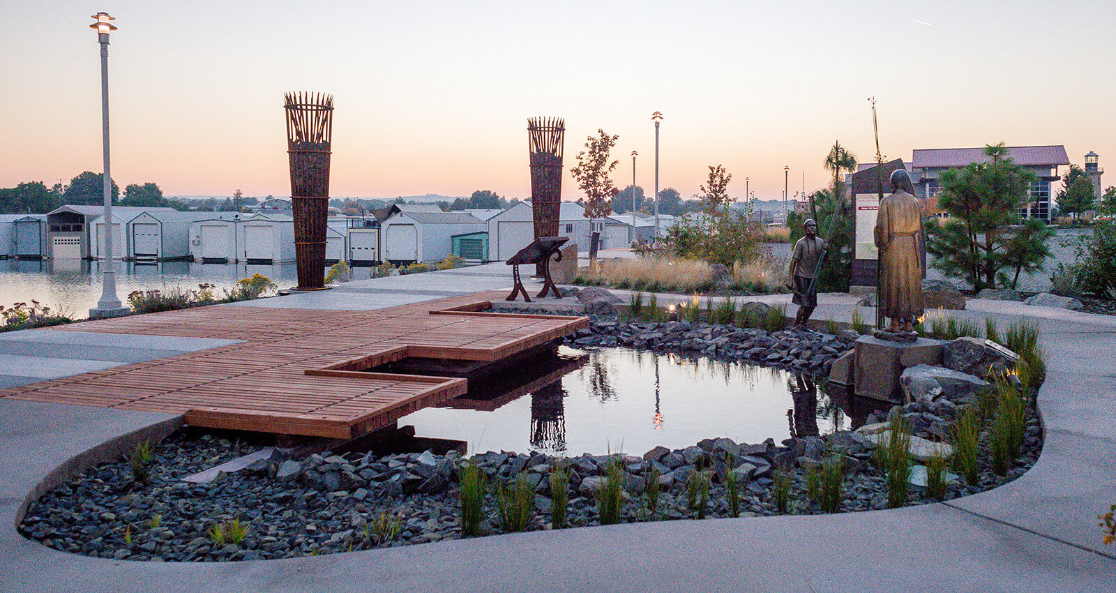 The Gatherng Place art installation at dusk.