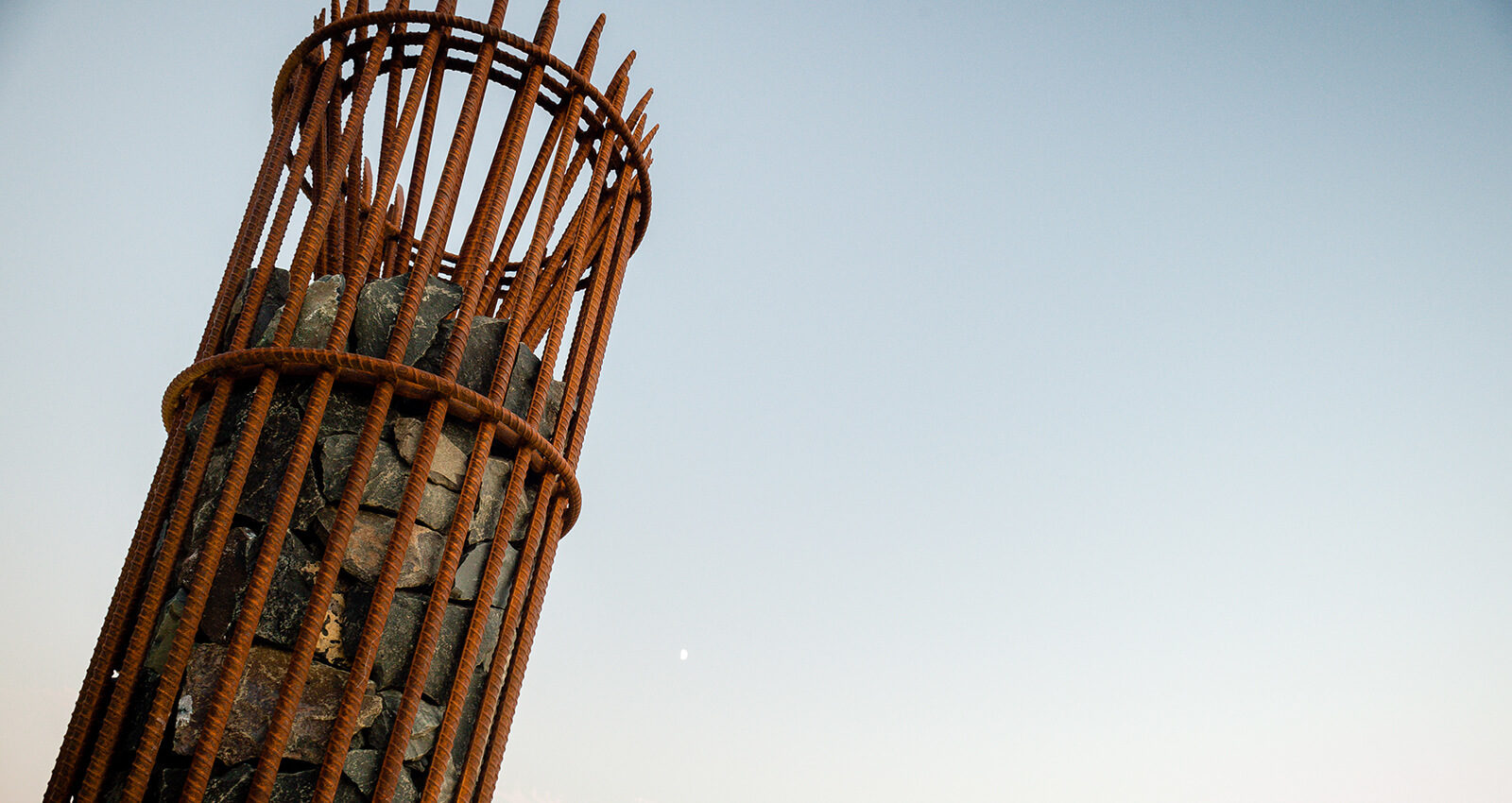 """Top of a Sapáxikas """"Willow Fish Traps"""" artwork structure."""