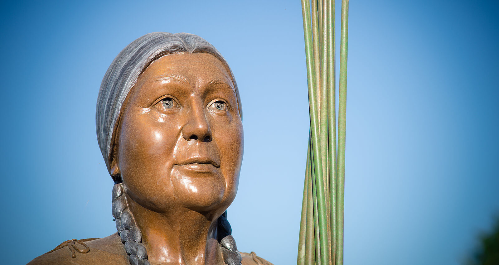 The face of The Gathering Place Elder Woman sculpture.